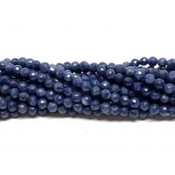 Blå safir, facetslebet rund 3mm, hel streng