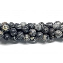Black veined jaspis, rund 12mm, hel streng