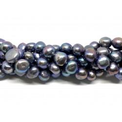 Påfugle blå ferskvandsperler, 10-11mm nugget, hel streng