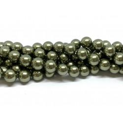 Shell pearl, grøn 10mm, hel streng