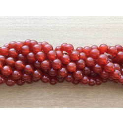 Karneol / rød agat, rund 12mm, hel streng
