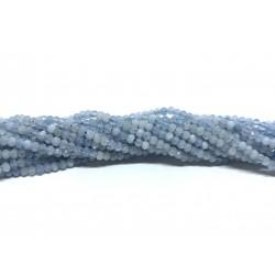 Aquamarin, facetslebne rondeller 2x3mm, hel streng