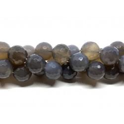 Grå agat, facetslebet rund 14mm, hel streng