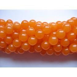 Orange farvet jade, rund 10mm, hel streng