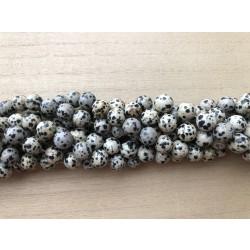 Dalmatiner jaspis, rund 10mm, hel streng