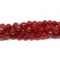 Rød jade, facetslebet rund 8mm, hel streng