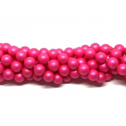 Frosted shell pearl, neon pink 10mm, hel streng