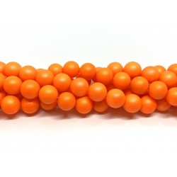 Frosted shell pearl, neon orange 10mm, hel streng