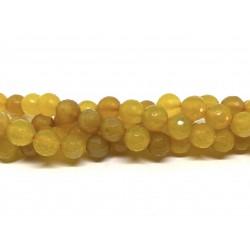 Gul agat, facetslebet rund 10mm, hel streng