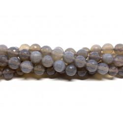 Grå agat, facetslebet rund 8mm, hel streng