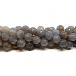 Grå agat, facetslebet rund 10mm, hel streng