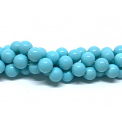 Shell pearl, lys turkis blå 10mm, hel streng