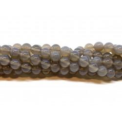 Grå agat, rund 8mm, hel streng