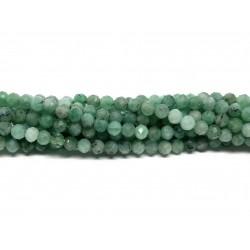 Smaragd, facetslebet rund 3mm, hel streng