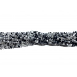 Sort rutilkvarts, facetslebne rondeller 2x3mm, hel streng