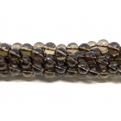 Røgkvarts, facetslebet rund 8mm (128 facetter), hel streng
