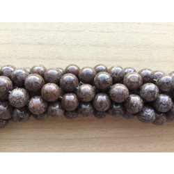 Brun snowflake obsidian, rund 14mm, hel streng