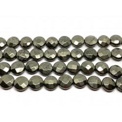 Pyrit, facetslebne mønter 10mm, hel streng