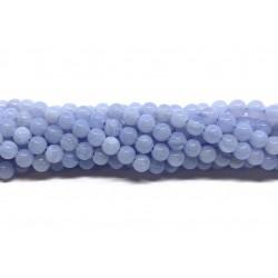Blå Kalcedon, rund 4mm, hel streng