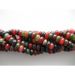 Multifarvet agat, krakkelerede facetslebne rondeller 5x8mm, hel streng