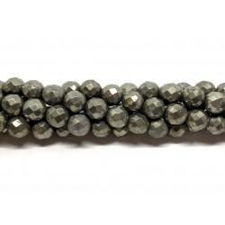 Pyrit, facetslebet rund 8mm (64 facetter), hel streng