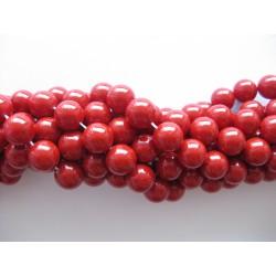 Shell pearl, rød 10mm, hel streng