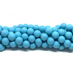 Shell pearl, turkis blå 10mm, hel streng
