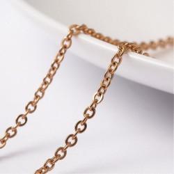 Guldfarvet stål kæde, 2,5x2x0,5mm, 1m