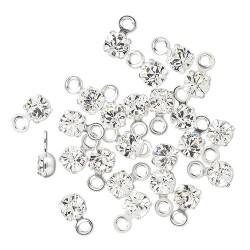 Swarovski crystal, 3-3,2mm sølv vedhæng, crystal clear, 1 stk