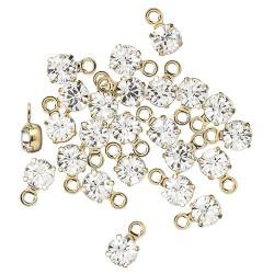 Swarovski crystal, 4-4,1mm guld vedhæng, crystal clear, 1 stk