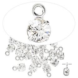 Swarovski crystal, 4-4,1mm sølv vedhæng, crystal clear, 1 stk