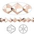 Swarovski crystal 6mm Xilion bicone, crystal rose gold 2X-00